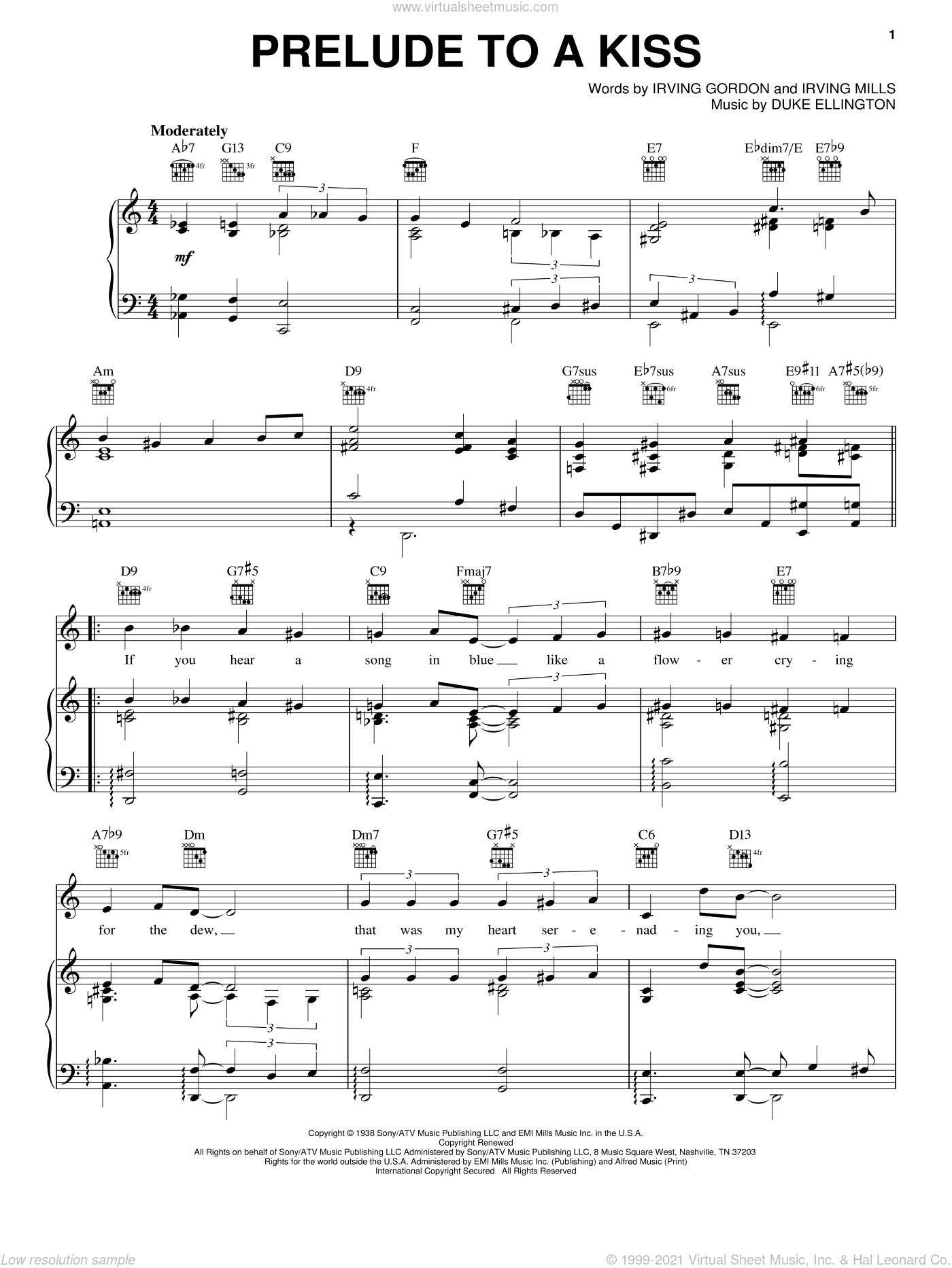 Prelude To A Kiss sheet music for voice, piano or guitar by Duke Ellington, Irving Gordon and Irving Mills, intermediate skill level