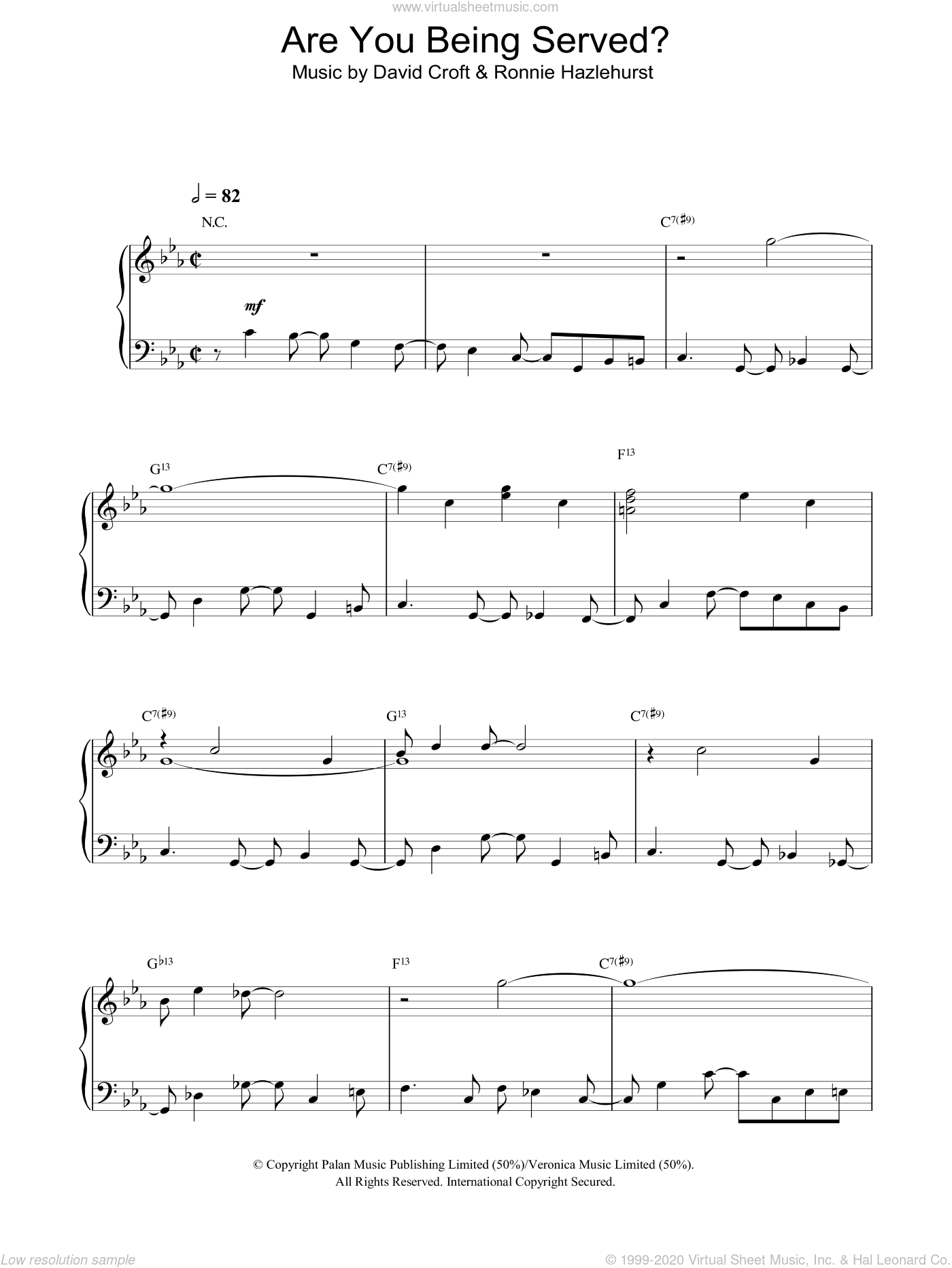 Are You Being Served? sheet music for piano solo by David Croft and Ronnie Hazlehurst, intermediate skill level