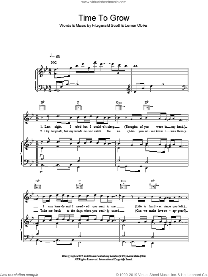 Time To Grow sheet music for voice, piano or guitar by Lemar and Fitzgerald Scott, intermediate. Score Image Preview.
