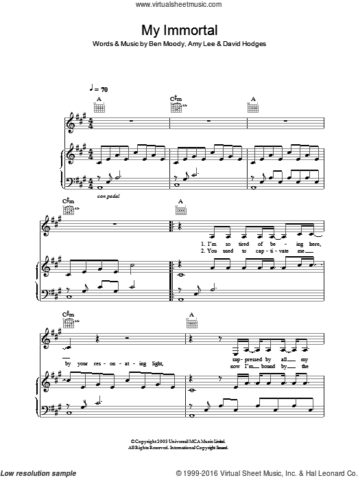 My Immortal sheet music for voice, piano or guitar by Evanescence, Amy Lee, Ben Moody and David Hodges, intermediate voice, piano or guitar. Score Image Preview.
