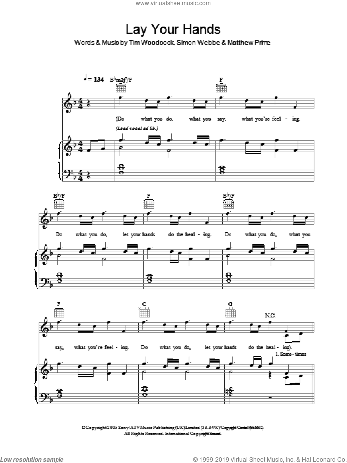 Lay Your Hands sheet music for voice, piano or guitar by Tim Woodcock, Matthew Prime and Simon Webbe. Score Image Preview.