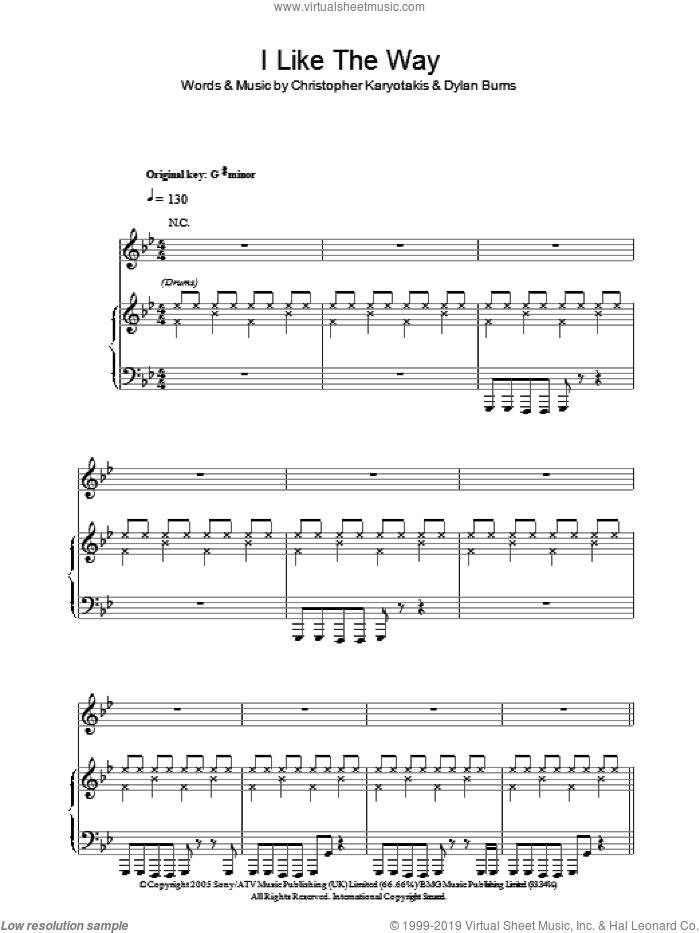 I Like The Way sheet music for voice, piano or guitar by Dylan Burns