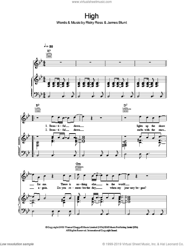 High sheet music for voice, piano or guitar by James Blunt and Ricky Ross, intermediate skill level