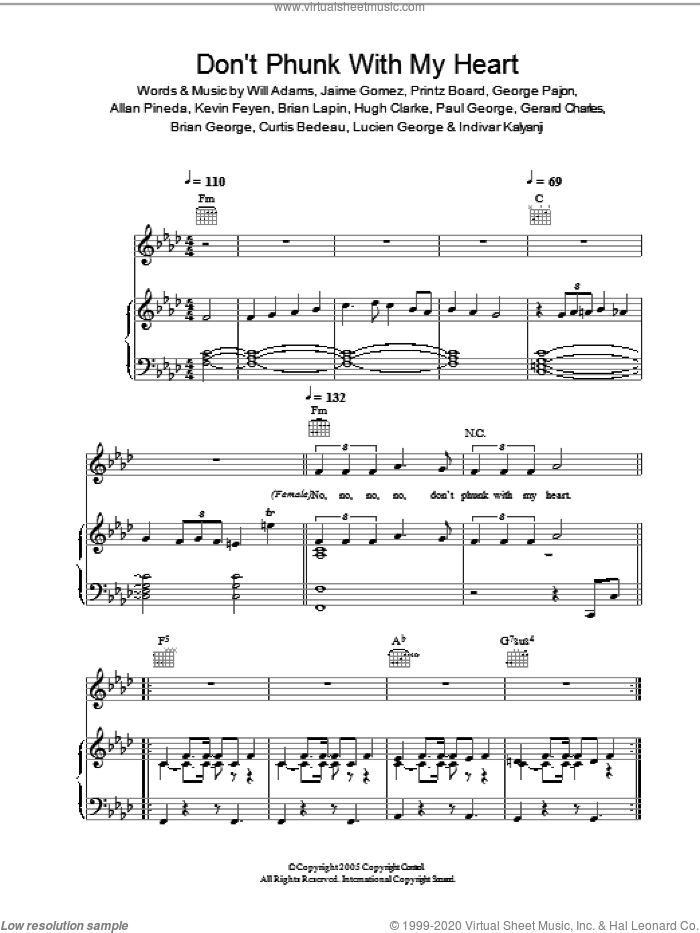 Don't Phunk With My Heart sheet music for voice, piano or guitar by Will Adams