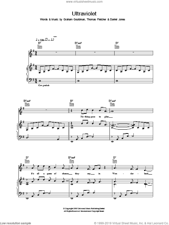 Ultraviolet sheet music for voice, piano or guitar by McFly, Danny Jones, Graham Gouldman and Thomas Fletcher, intermediate. Score Image Preview.