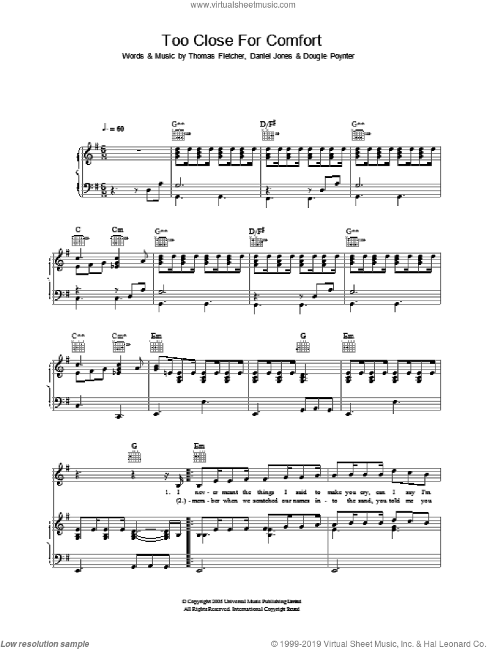 Too Close For Comfort sheet music for voice, piano or guitar by Thomas Fletcher, Danny Jones and Dougie Poynter. Score Image Preview.