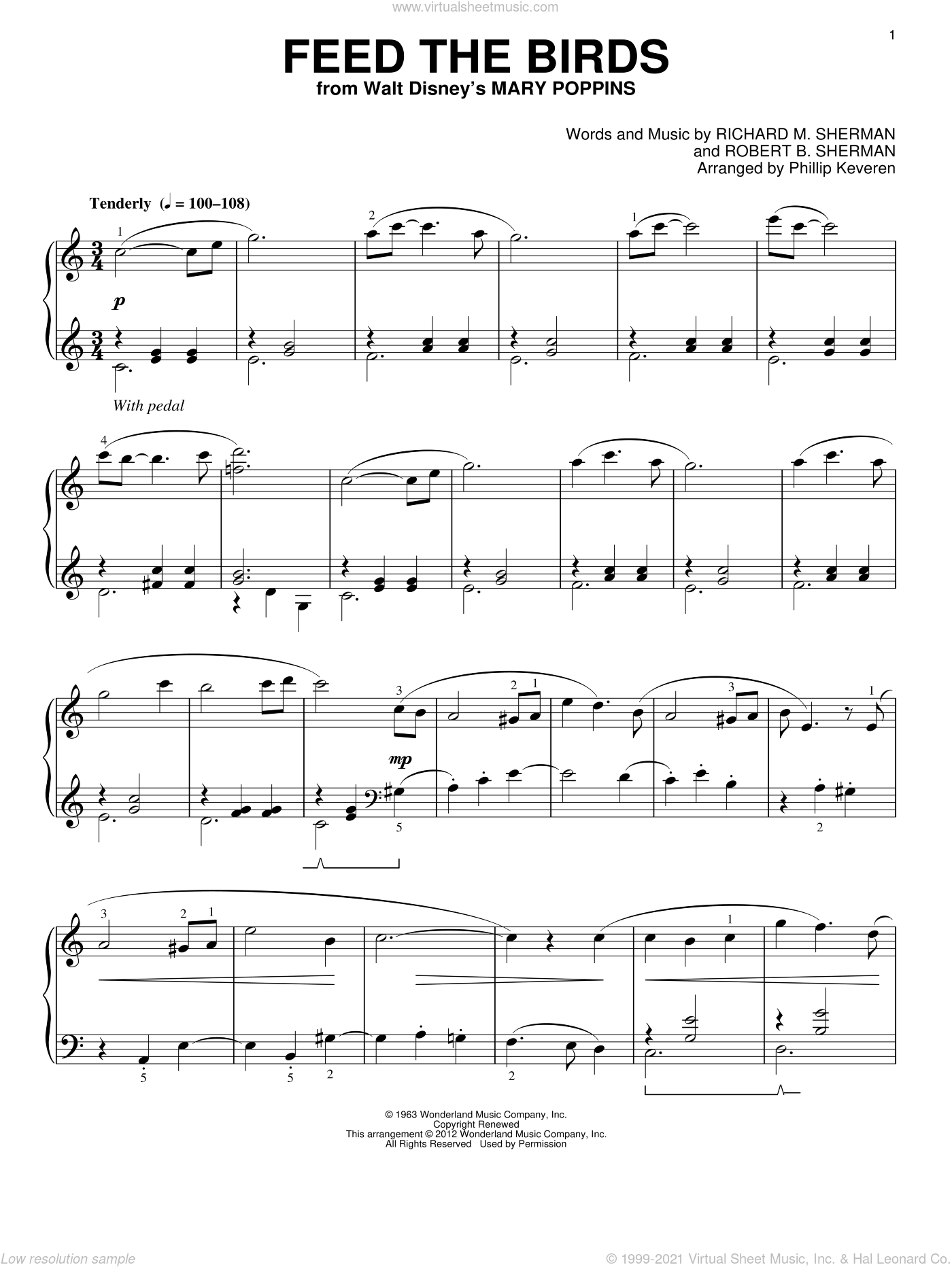 Feed The Birds [Classical version] (from Mary Poppins) (arr. Phillip Keveren) sheet music for piano solo by Phillip Keveren, Mary Poppins (Movie), Richard M. Sherman, Robert B. Sherman and Sherman Brothers, classical score, intermediate skill level