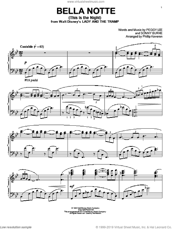 Bella Notte (This Is The Night) sheet music for piano solo by Phillip Keveren, Peggy Lee and Sonny Burke, classical score, intermediate skill level