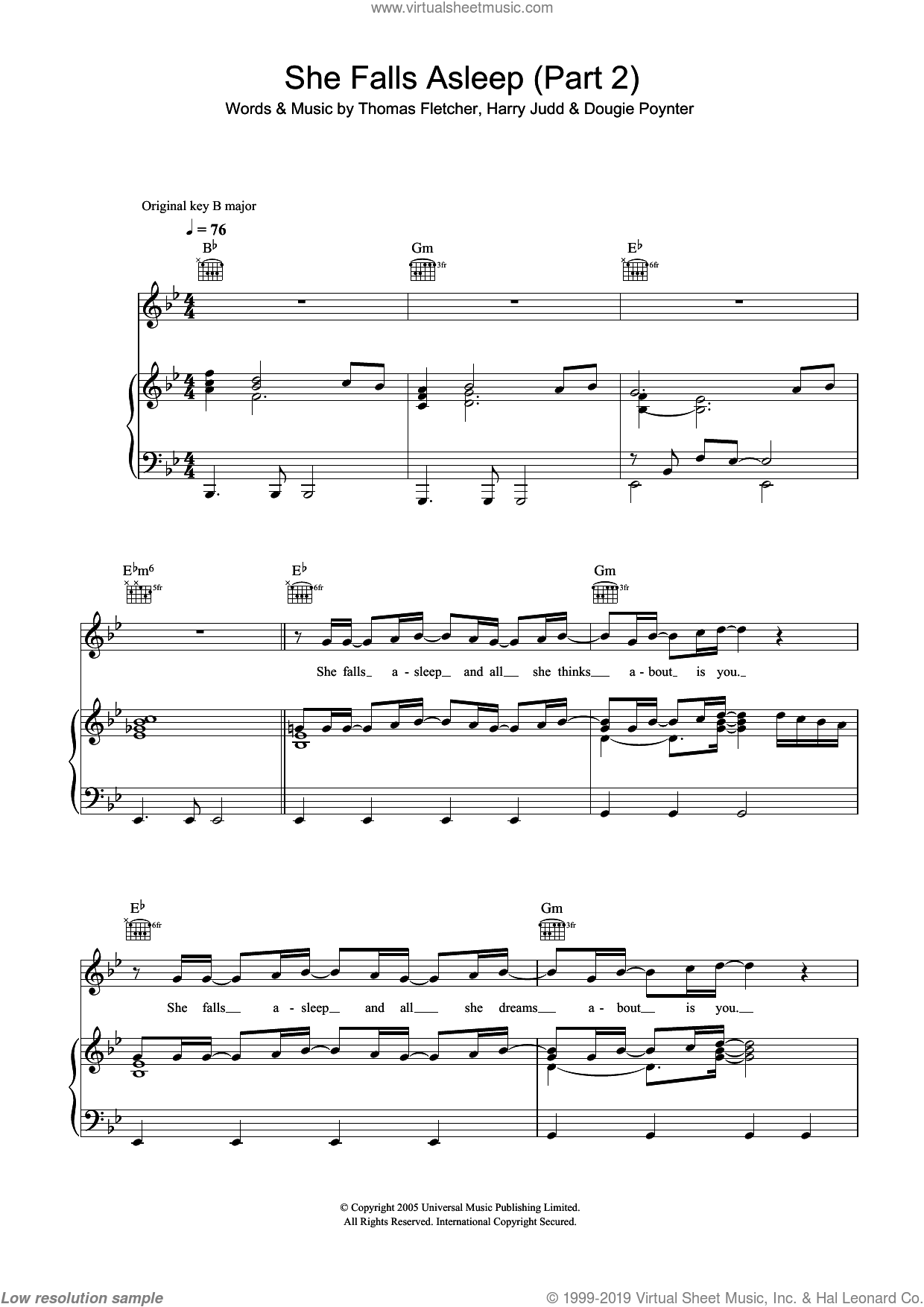 She Falls Asleep Part 2 sheet music for voice, piano or guitar by McFly, Dougie Poynter, Harry Judd and Thomas Fletcher, intermediate. Score Image Preview.