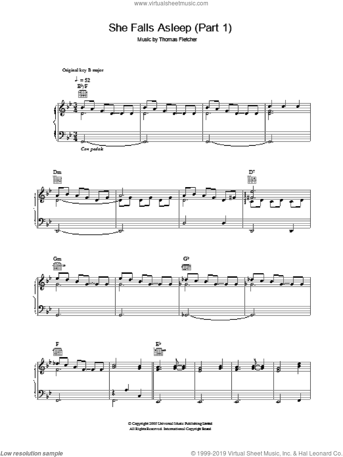 She Falls Asleep Part 1 sheet music for voice, piano or guitar by Thomas Fletcher. Score Image Preview.