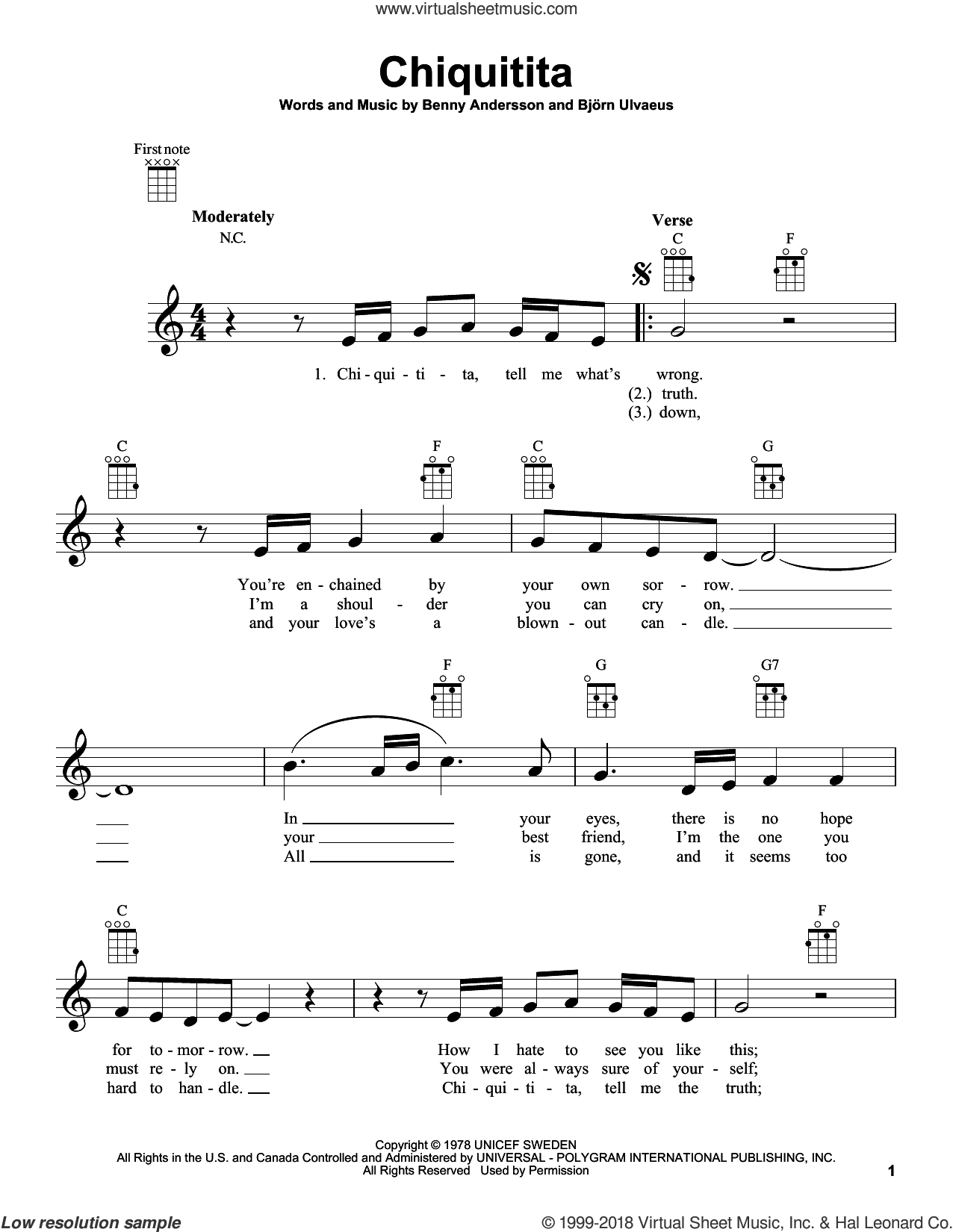 Chiquitita sheet music for ukulele by ABBA, Benny Andersson and Bjorn Ulvaeus, intermediate skill level
