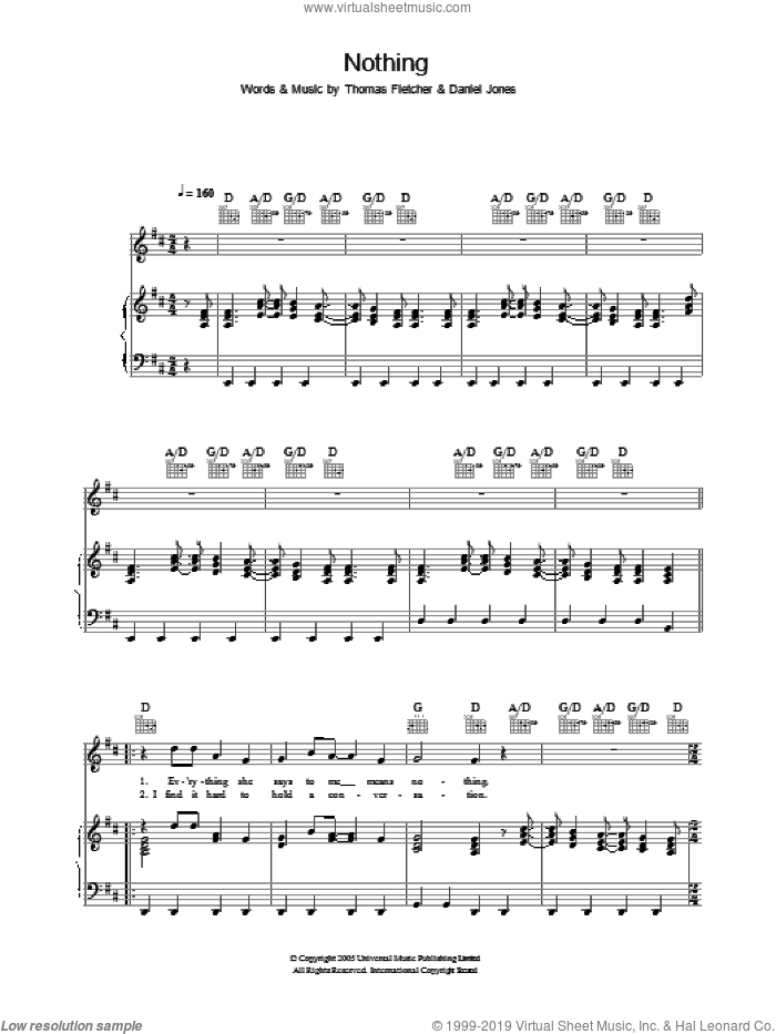 Nothing sheet music for voice, piano or guitar by Thomas Fletcher and Danny Jones. Score Image Preview.