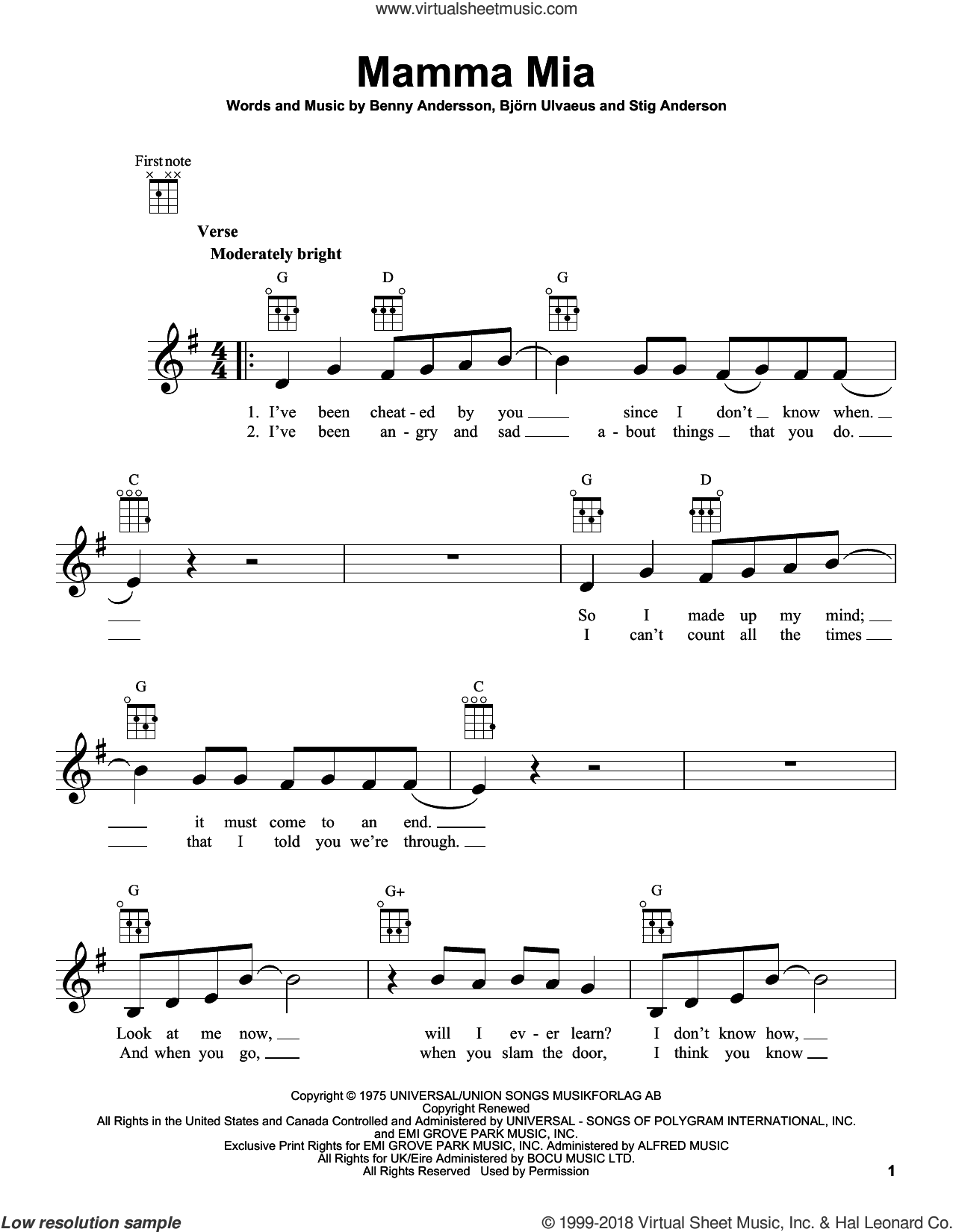 Mamma Mia sheet music for ukulele by ABBA, Benny Andersson, Bjorn Ulvaeus and Stig Anderson. Score Image Preview.