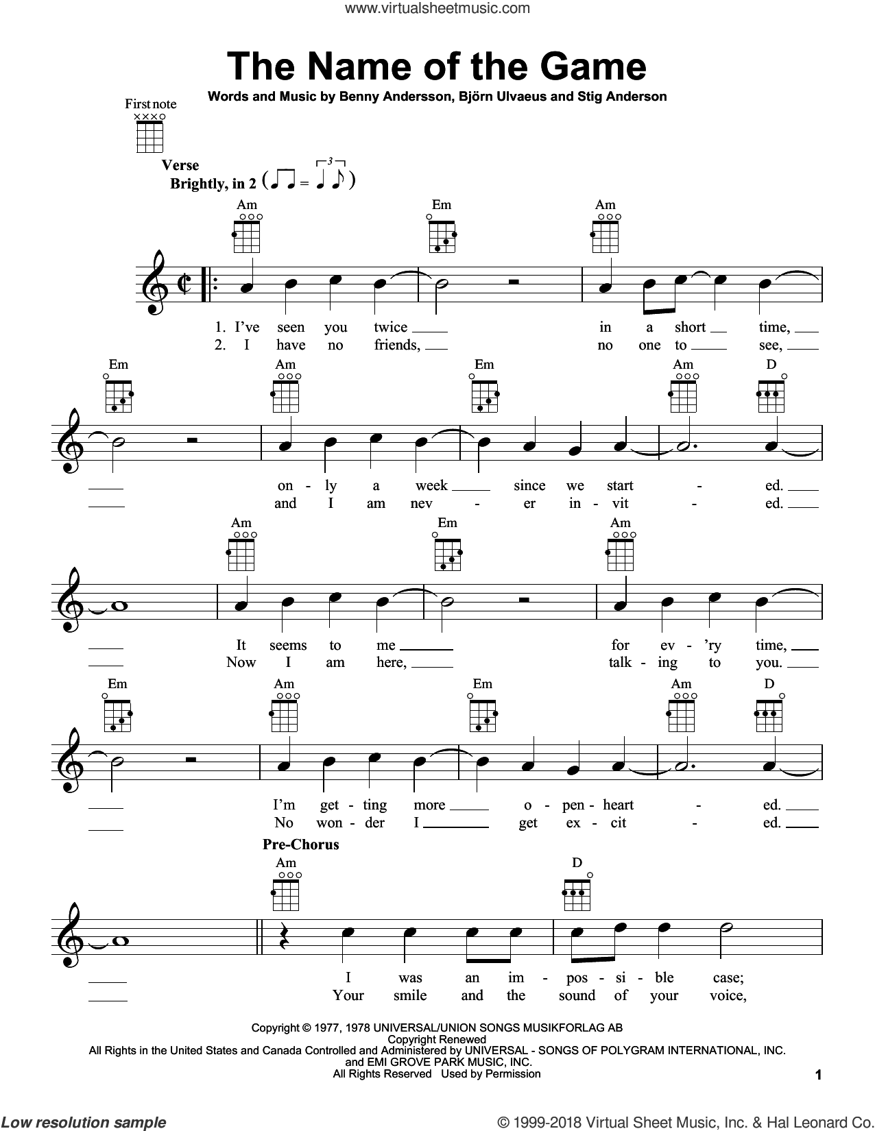 The Name Of The Game sheet music for ukulele by Stig Anderson, ABBA, Benny Andersson and Bjorn Ulvaeus. Score Image Preview.