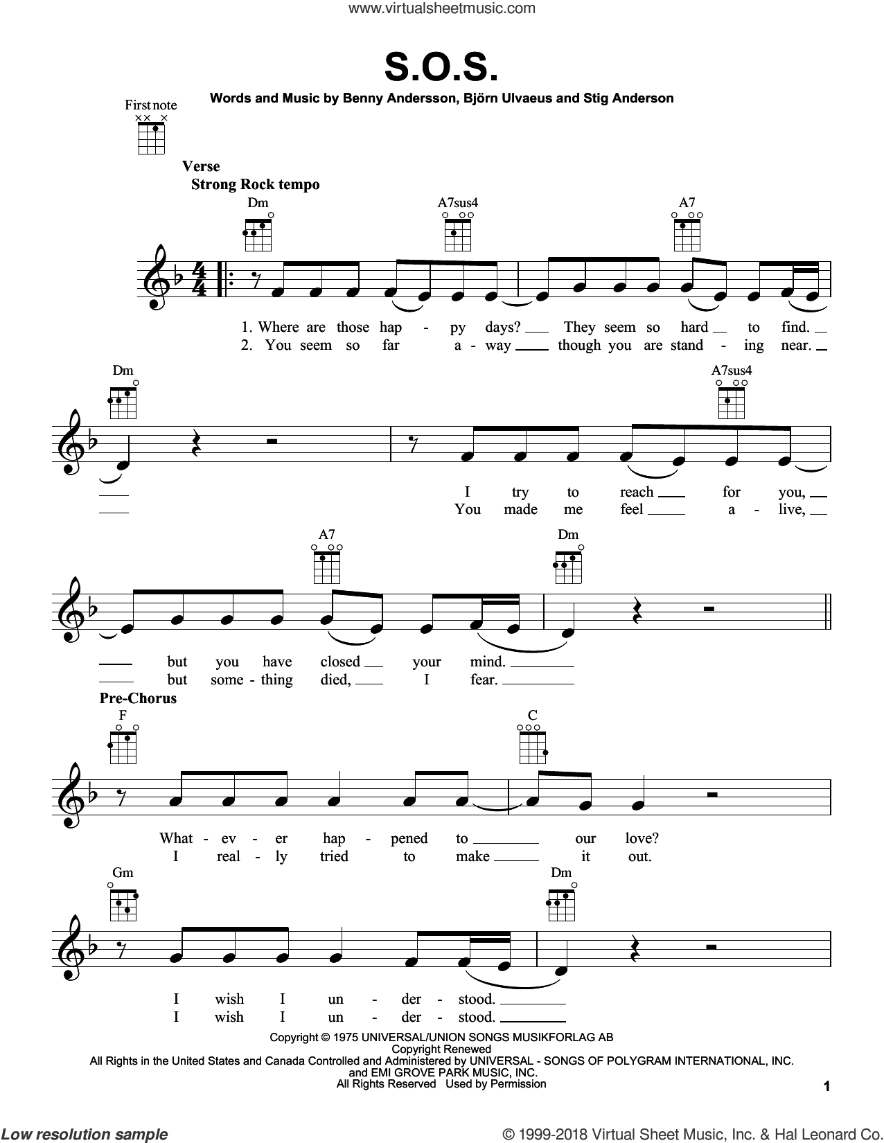 S.O.S. sheet music for ukulele by ABBA, Benny Andersson, Bjorn Ulvaeus and Stig Anderson, intermediate skill level