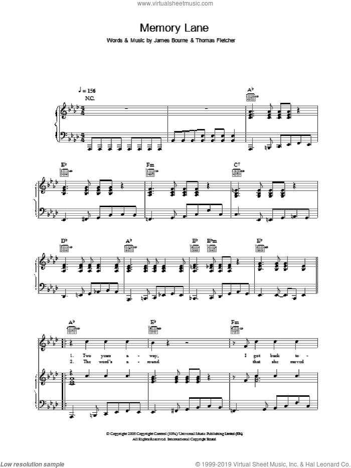 Memory Lane sheet music for voice, piano or guitar by McFly, intermediate. Score Image Preview.