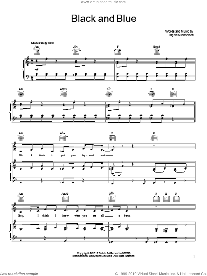 Black And Blue sheet music for voice, piano or guitar by Ingrid Michaelson, intermediate skill level