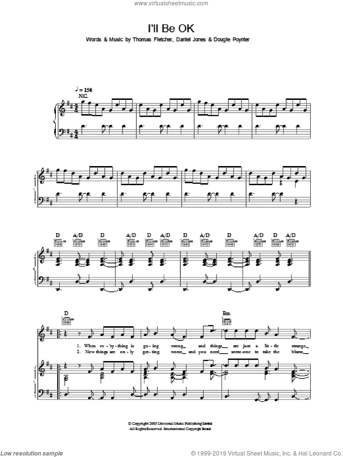 I'll Be OK sheet music for voice, piano or guitar by Thomas Fletcher