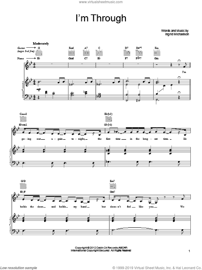 I'm Through sheet music for voice, piano or guitar by Ingrid Michaelson. Score Image Preview.