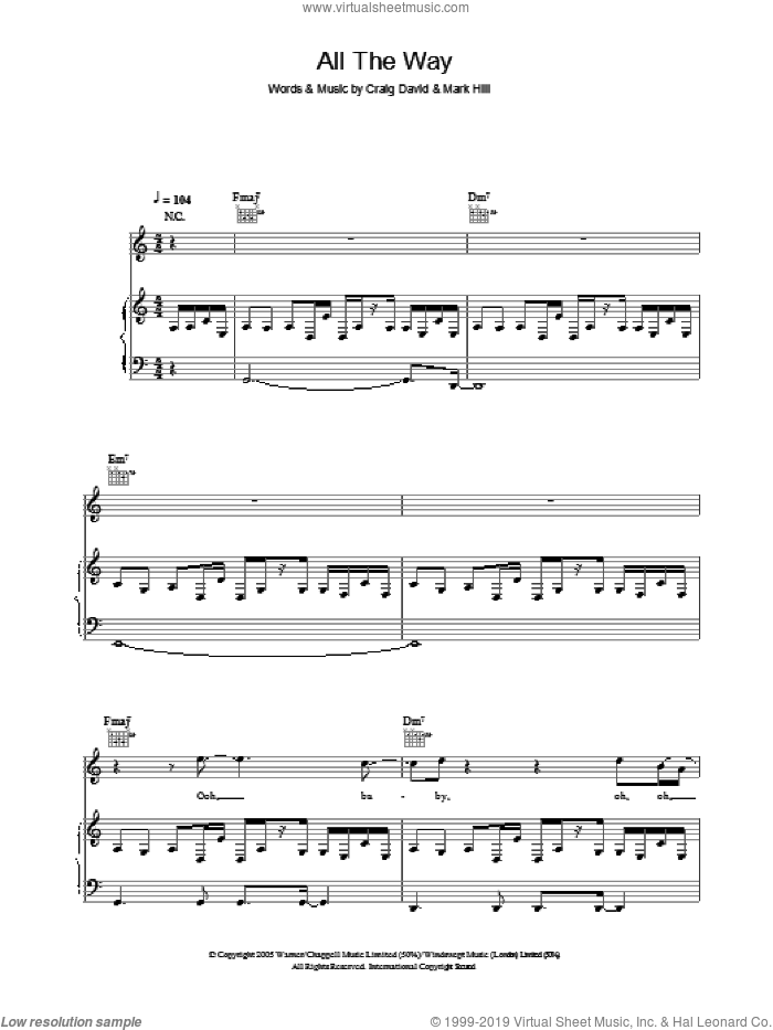 All The Way sheet music for voice, piano or guitar by Craig David and Mark Hill. Score Image Preview.