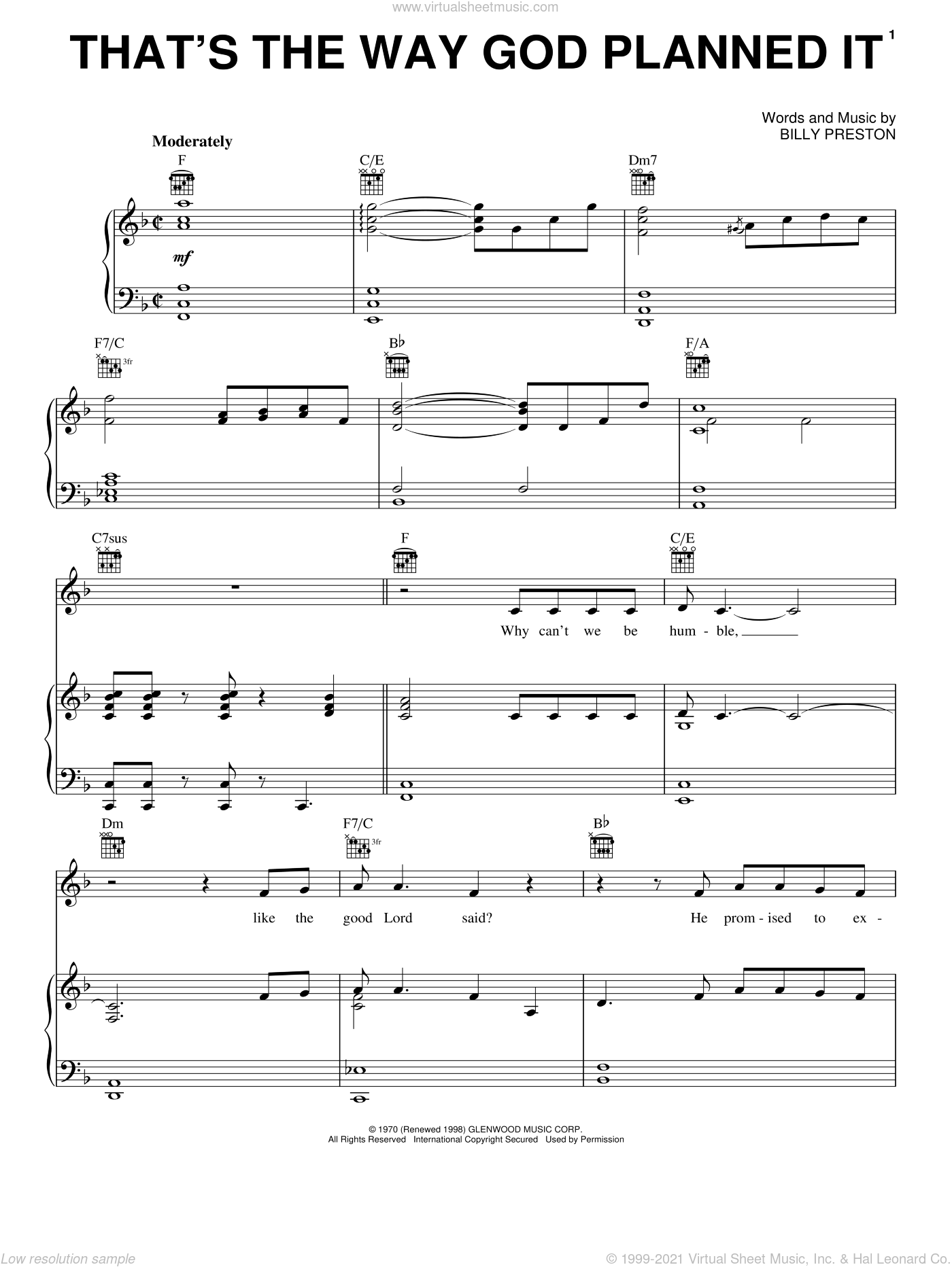 That's The Way God Planned It sheet music for voice, piano or guitar by Billy Preston and Joyful Noise (Movie), intermediate skill level