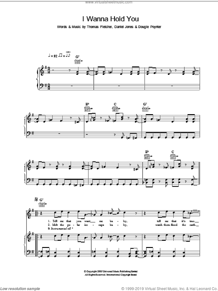 I Wanna Hold You sheet music for voice, piano or guitar by McFly and Danny Jones, intermediate. Score Image Preview.
