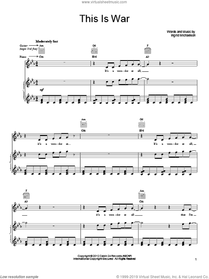 This Is War sheet music for voice, piano or guitar by Ingrid Michaelson, intermediate voice, piano or guitar. Score Image Preview.
