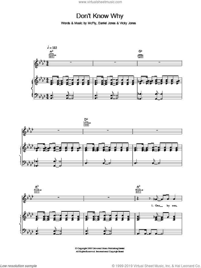 Don't Know Why sheet music for voice, piano or guitar by Vicky Jones and Danny Jones. Score Image Preview.