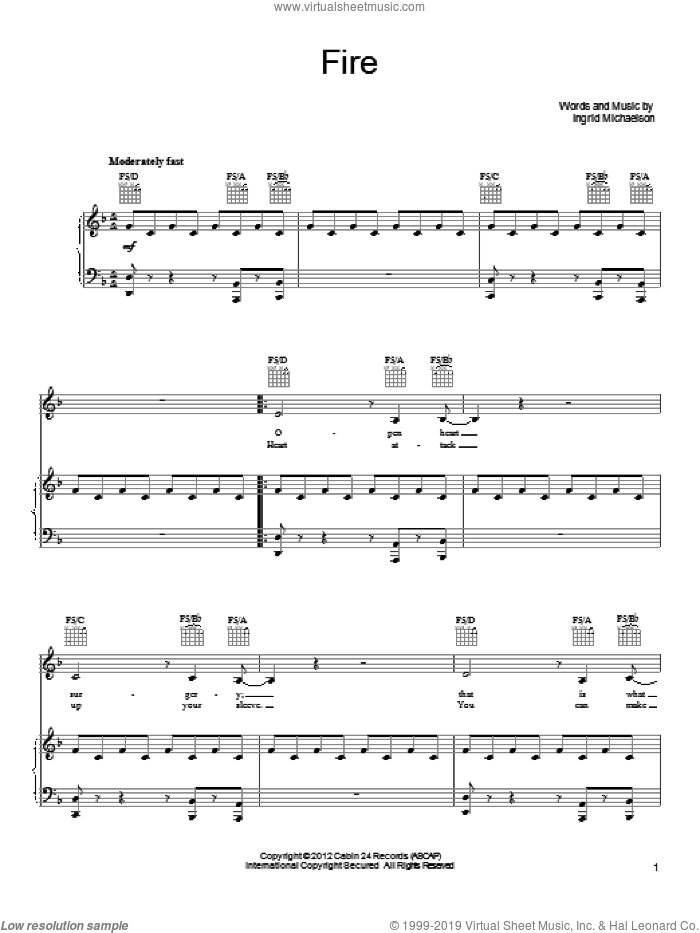 Fire sheet music for voice, piano or guitar by Ingrid Michaelson. Score Image Preview.