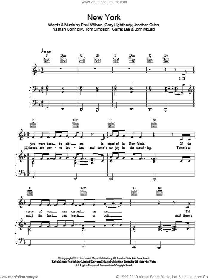 New York sheet music for voice, piano or guitar by Tom Simpson, Snow Patrol, Garret Lee, Gary Lightbody, John McDaid, Nathan Connolly and Paul Wilson. Score Image Preview.