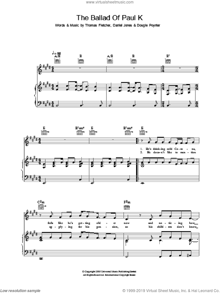 The Ballad Of Paul K sheet music for voice, piano or guitar by Thomas Fletcher, Danny Jones and Dougie Poynter. Score Image Preview.