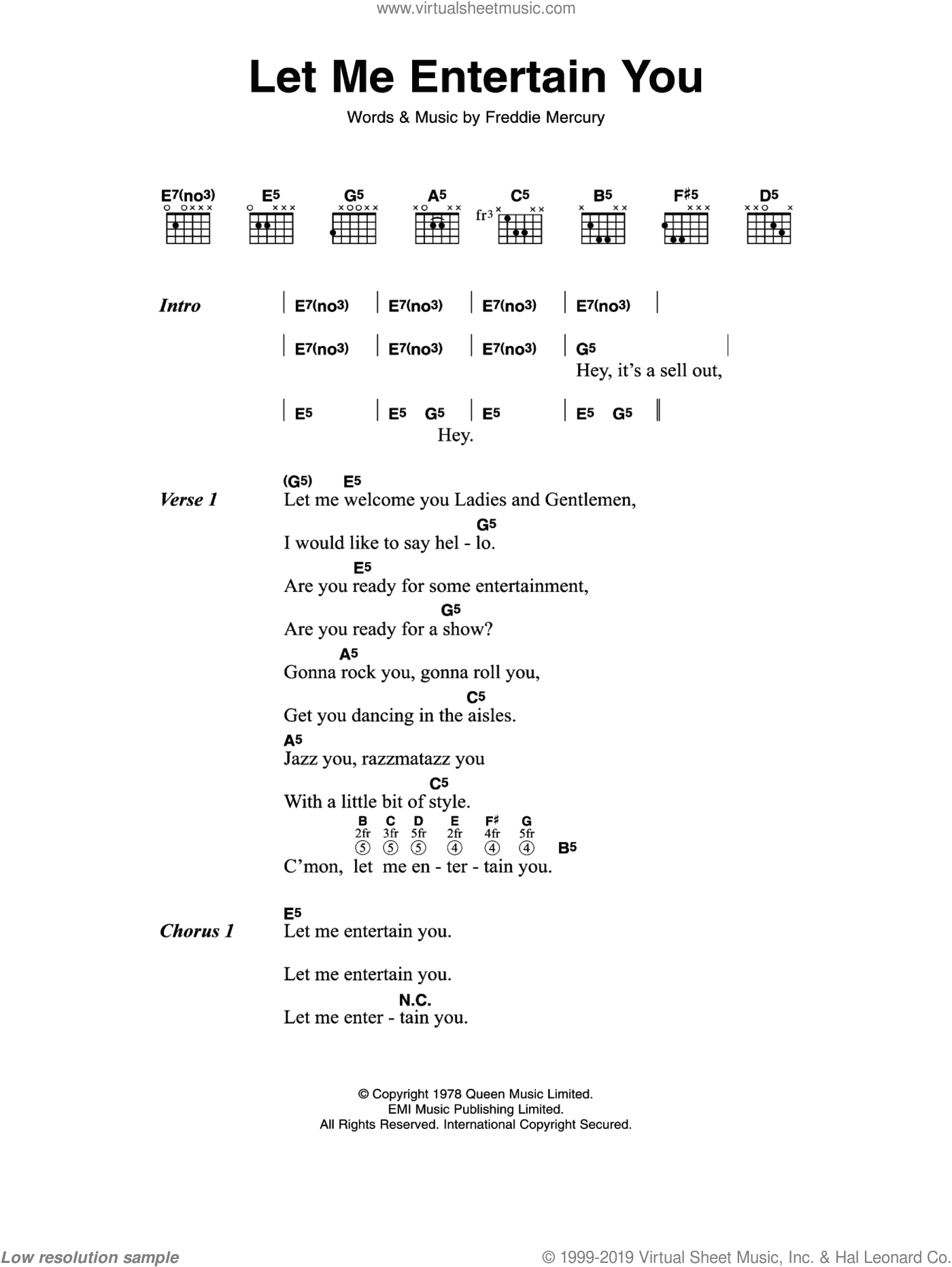 Let Me Entertain You sheet music for guitar (chords) by Queen, intermediate guitar (chords). Score Image Preview.