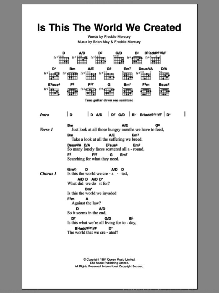 Is This The World We Created sheet music for guitar (chords) by Queen, Brian May and Frederick Mercury, intermediate skill level