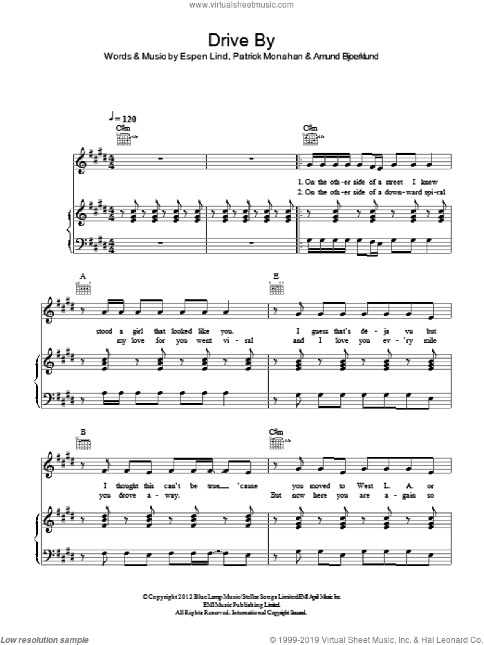 Drive By sheet music for voice, piano or guitar by Pat Monahan