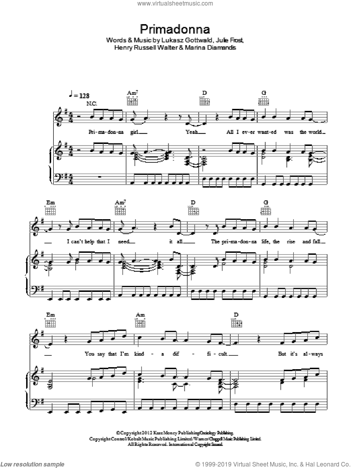 Primadonna sheet music for voice, piano or guitar by Marina & The Diamonds, Henry Russell Walter, Julie Frost, Lukasz Gottwald and Marina Diamandis, intermediate skill level