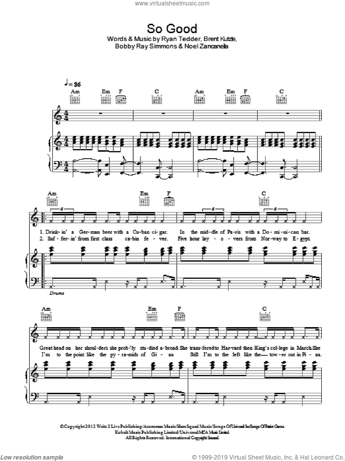 So Good sheet music for voice, piano or guitar by Ryan Tedder, Bobby Ray Simmons and Noel Zancanella. Score Image Preview.