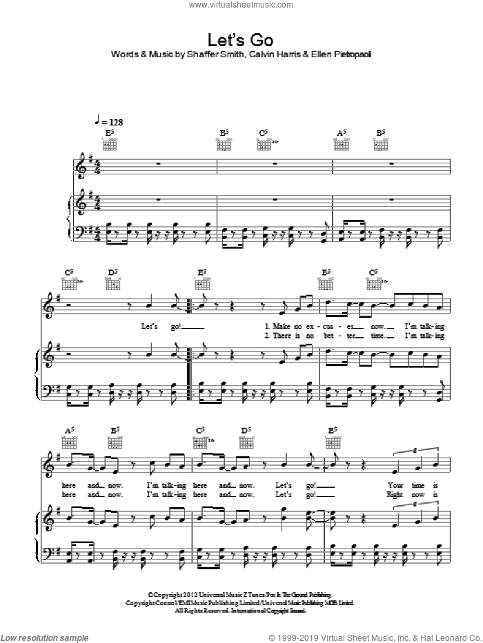 Let's Go sheet music for voice, piano or guitar by Calvin Harris featuring Ne-Yo, Calvin Harris, Ellen Pietropaoli and Shaffer Smith, intermediate skill level