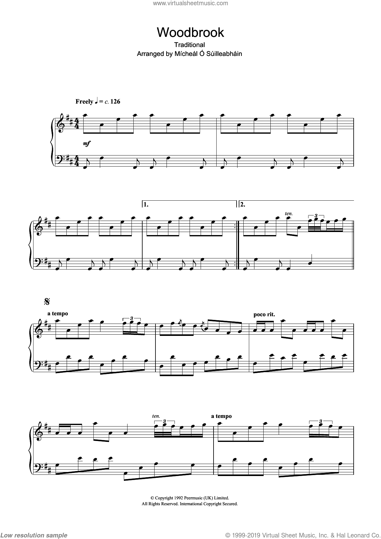 Woodbrook sheet music for piano solo, intermediate piano. Score Image Preview.