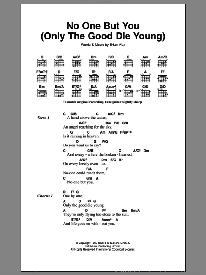 No One But You (Only The Good Die Young) sheet music for guitar (chords, lyrics, melody) by Brian May
