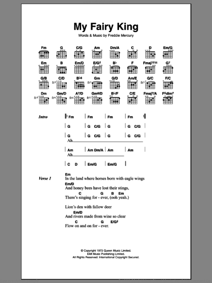 My Fairy King sheet music for guitar solo (chords, lyrics, melody) by Frederick Mercury