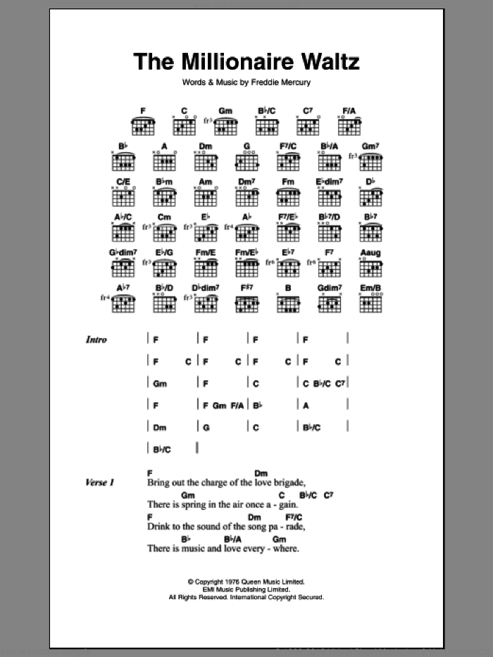 The Millionaire Waltz sheet music for guitar (chords, lyrics, melody) by Frederick Mercury