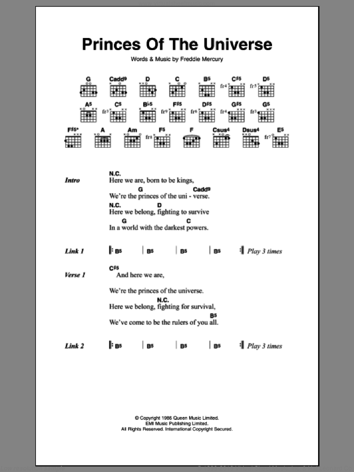 Queen Princes Of The Universe Sheet Music For Guitar Chords