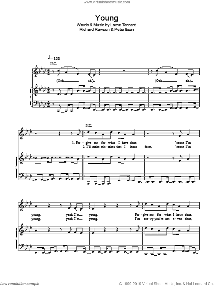 Young sheet music for voice, piano or guitar by Richard Rawson