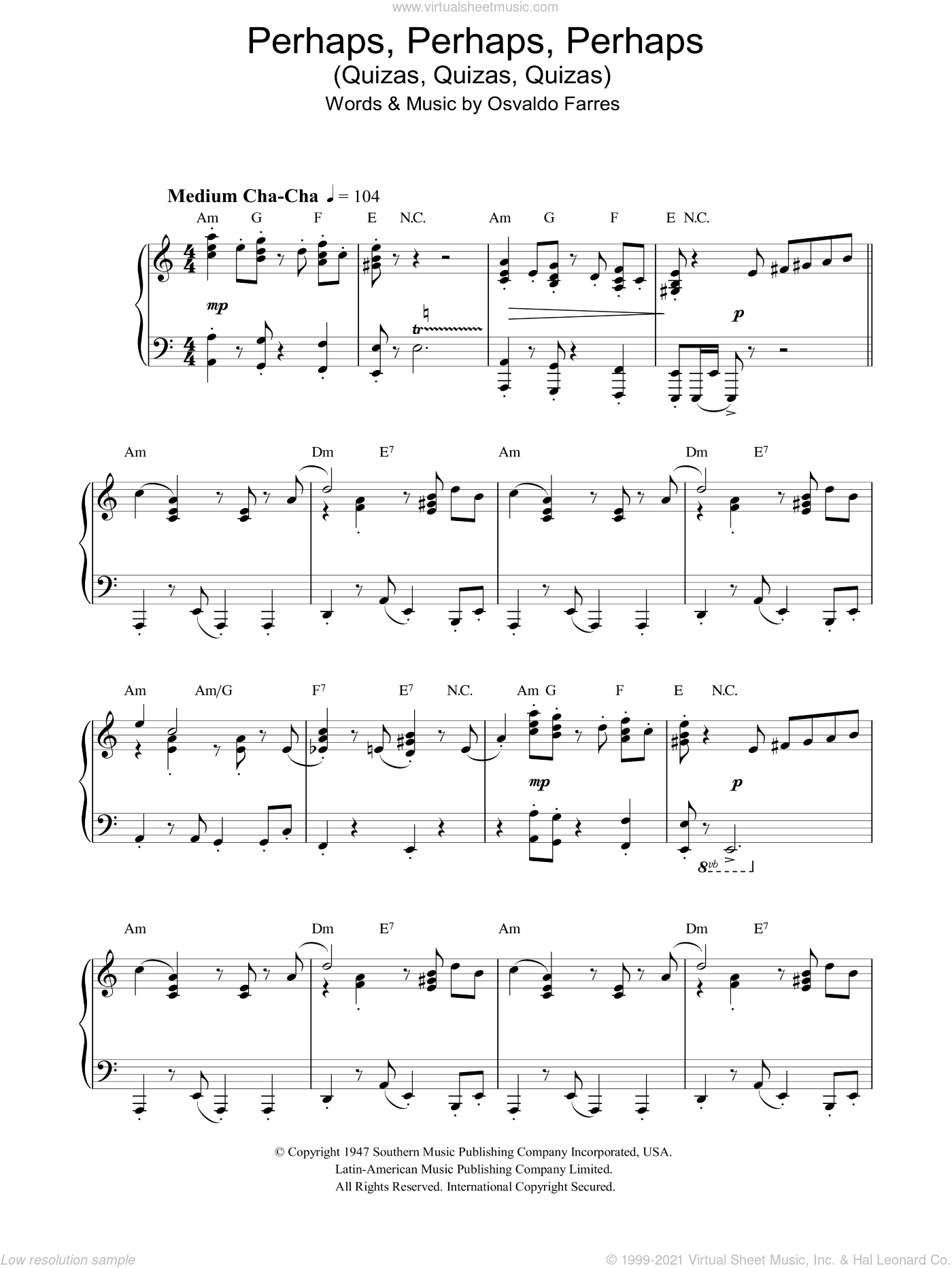 Quizas, Quizas, Quizas (Perhaps, Perhaps, Perhaps) sheet music for piano solo by Osvaldo Farres. Score Image Preview.