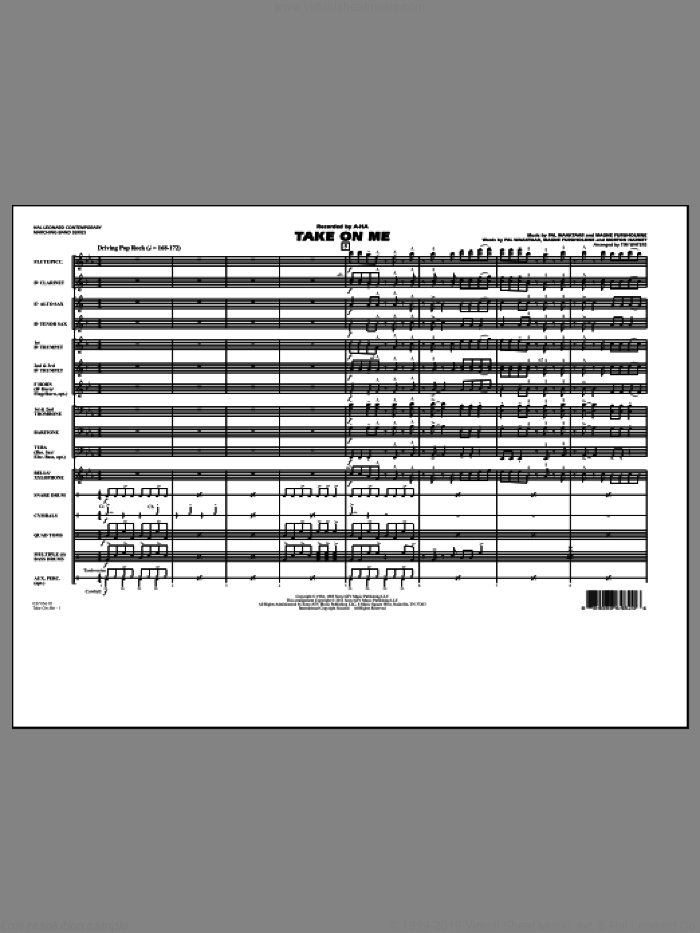 Take On Me (COMPLETE) sheet music for marching band by Tim Waters, Magne Furuholmne, Morton Harket, Pal Waaktaar and a-ha, intermediate skill level