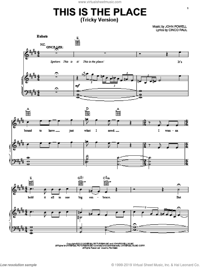 This Is The Place (Tricky Version) sheet music for voice, piano or guitar by Cinco Paul and John Powell. Score Image Preview.