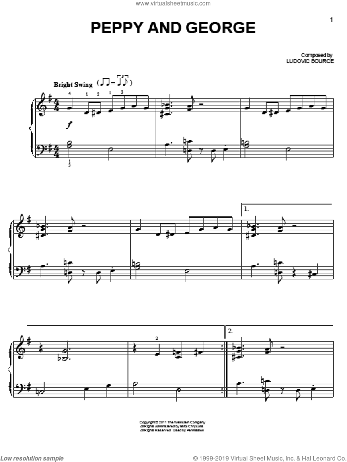 Peppy And George sheet music for piano solo by Ludovic Bource. Score Image Preview.