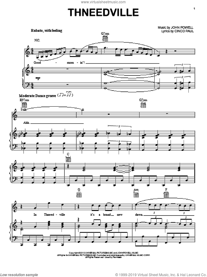 Thneedville sheet music for voice, piano or guitar by Cinco Paul