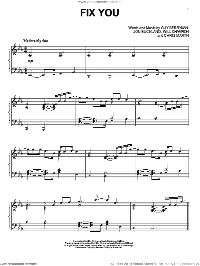 Fix You sheet music for piano solo by Glee Cast, Coldplay, Chris Martin, Guy Berryman, Jon Buckland, Miscellaneous and Will Champion, intermediate skill level