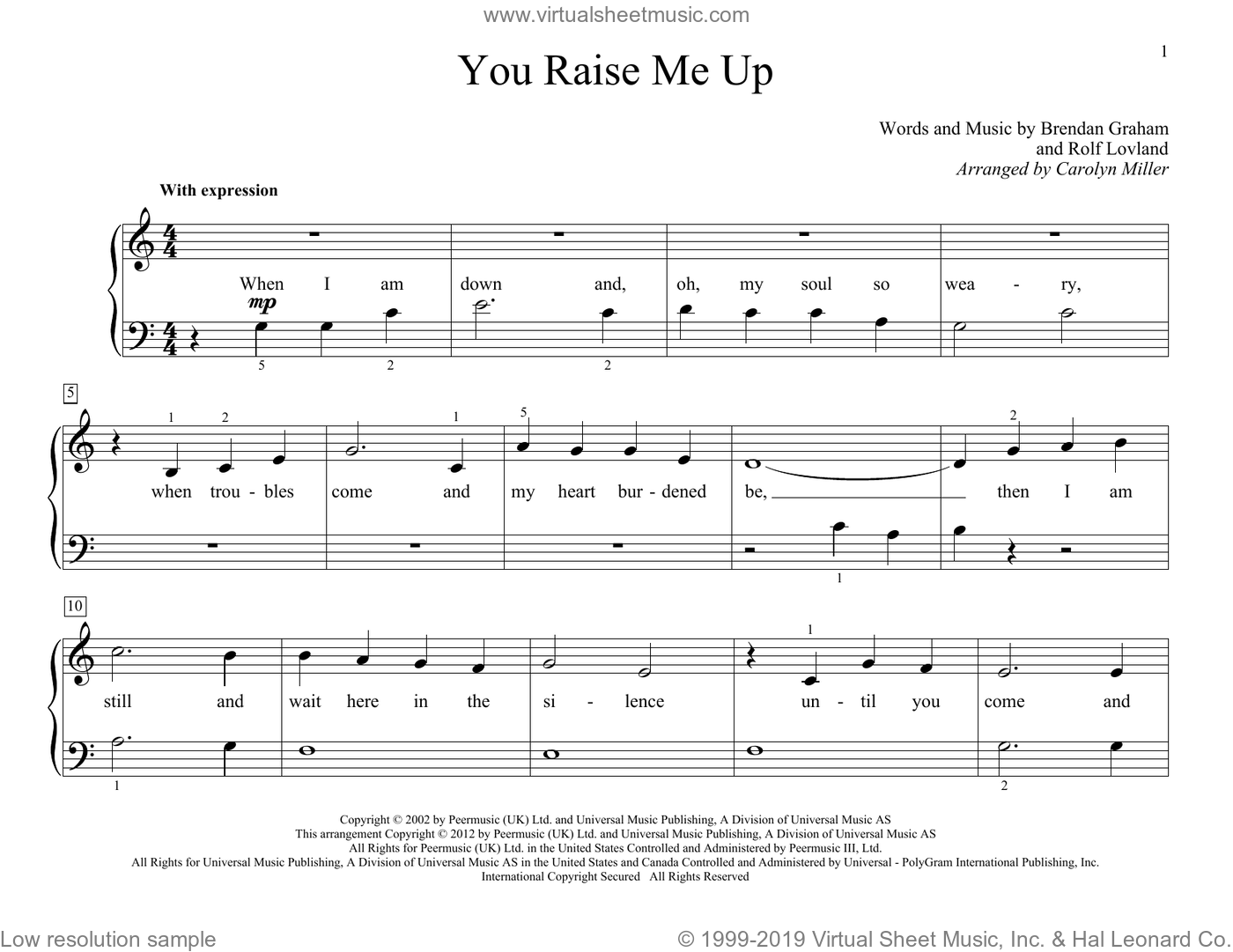 You Raise Me Up sheet music for piano solo (elementary) by Rolf Lovland, Carolyn Miller, John Thompson, Josh Groban, Brendan Graham and Rolf LA�Auvland. Score Image Preview.